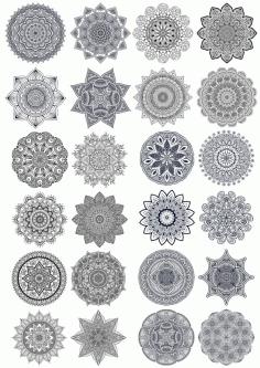 Set Of Ornament Round Mandala Free CDR Vectors Art