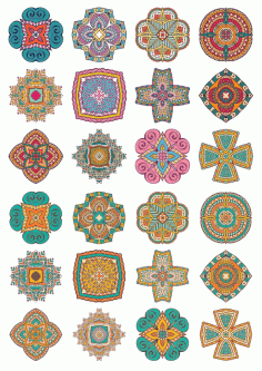 Set Of Round Ornaments Mandala Vectors Free CDR Vectors Art
