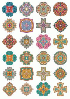 Set Of Round Ornaments Mandala Vectors Free CDR Vectors Art