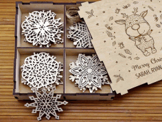 Laser Cut Snowflakes On Christmas Tree 3d Puzzle Free CDR Vectors Art