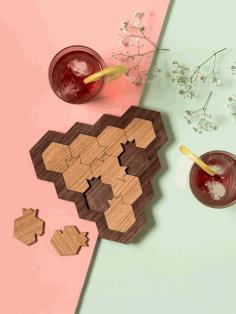 Laser Cut Wood Coasters 3d Puzzle Free CDR Vectors Art