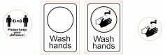 Sign Wash Hands Keep Distance Free CDR Vectors Art