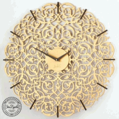 Laser Cut Decorative Wall Clock Template Free CDR Vectors Art