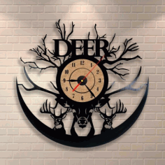 Laser Cut Deer Vinyl Record Clock Free CDR Vectors Art