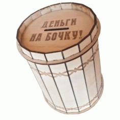 Laser Cut Barrel Money Box Free CDR Vectors Art