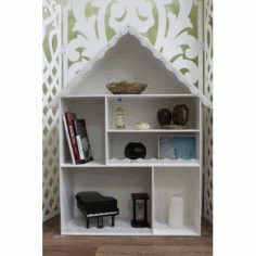 Laser Cut House Shape Decor Shelf Free CDR Vectors Art