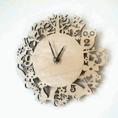 Laser Cut Kid Room Wall Clock Template Free CDR Vectors Art
