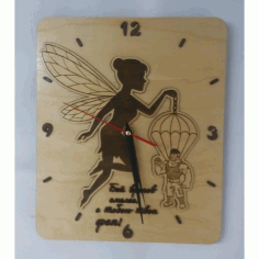 Laser Cut Kid Wall Clock Paratrooper With Fairy Free CDR Vectors Art