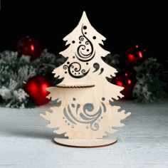 Laser Cut Napkin Holder Tree Shape Free CDR Vectors Art