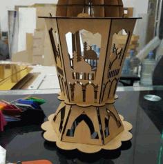 Laser Cut Wooden Islamic Ramadan Fanoos Lantern Free CDR Vectors Art