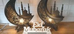 Eid Mubarak Moon Lamp Free DXF File