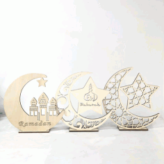 Laser Cut Ramadan Decorations Wooden Ornaments Free DXF File