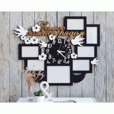 Laser Cut Picture Frames With Clock Template Free CDR Vectors Art