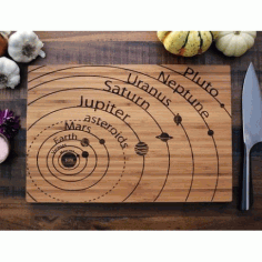 Laser Cut Planets Vector Art On Cutting Board Free CDR Vectors Art