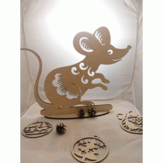 Laser Cut Rat Mouse On Stand Free CDR Vectors Art