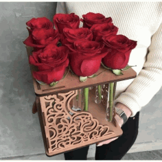 Laser Cut Rose Flower Stand Free CDR Vectors Art