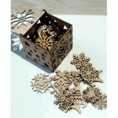 Laser Cut Snowflakes Christmas Tree Decoration Box Free CDR Vectors Art