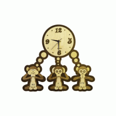 Laser Cut Three Monkeys Clock Template Free CDR Vectors Art