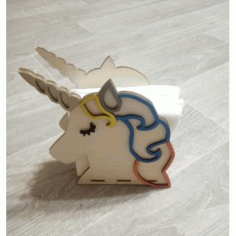 Laser Cut Unicorn Napkin Holder Free CDR Vectors Art