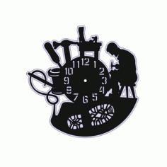 Laser Cut Vinyl Record Clock Free CDR Vectors Art