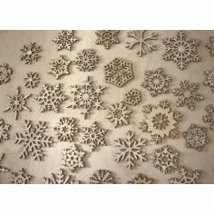 Laser Cut Wood Snowflake Ornaments Free CDR Vectors Art