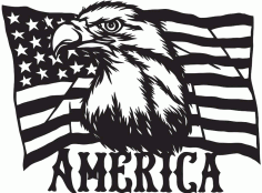 American Flag Eagles Download Free DXF File