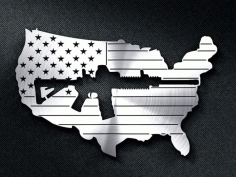 American Flag With A Gun Cut Out Free DXF File