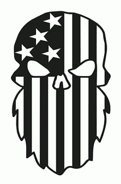 Beard Punisher Usa Flag Skulls For Silhouette Free DXF File