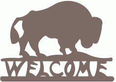 Buffalo Welcome Silhouette Design Free DXF File