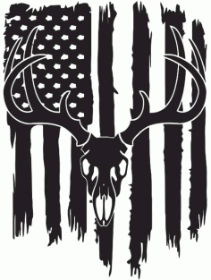 Deer Flag Silhouette Usa Flag Free DXF File