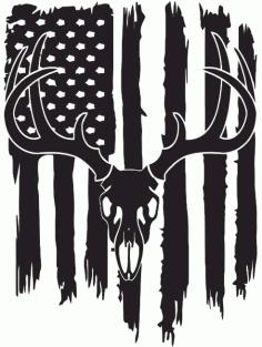Deer Flag Silhouette Usa Flag Free CDR Vectors Art