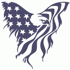 Metal Arts Flying Eagle American Flag Free DXF File