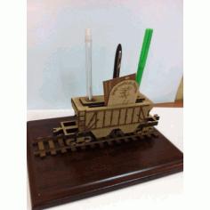 Laser Cut Desk Organizer Railway Grain Wagon Free CDR Vectors Art