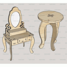 Laser Cut Dressing Table With Stool Kit Free CDR Vectors Art