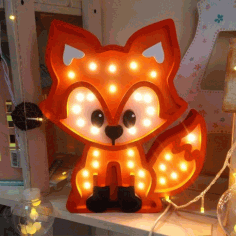 Laser Cut Fox Nightlight Lamp Free CDR Vectors Art