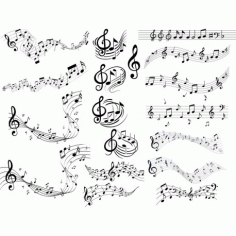 Music Notes Collection Clipart Free DXF File