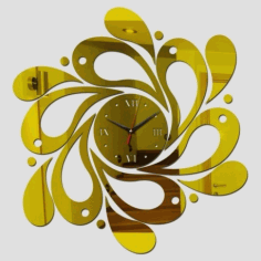 Laser Cut Spiral Wave Wall Clock Free CDR Vectors Art