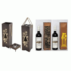 Laser Cut Wine Bottle Packaging 3mm Free CDR Vectors Art