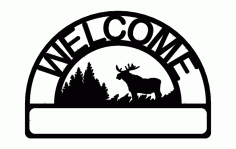 Welcome Moose Sign Free DXF File