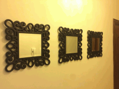 Wooden Wall Mirror Frame Design Free DXF File