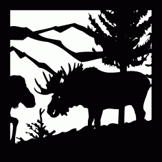 Moose Cow Mountains Cnc Plasma Free DXF File
