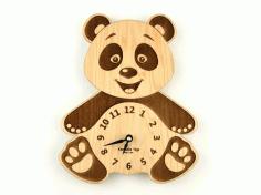 Laser Cut Wall Clock Panda Free DXF File