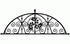 Ironwork Semi Floral Design Free DXF File