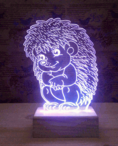 Hedgehog Shaped 3d Illusion Lamp Free CDR Vectors Art
