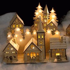 Beautiful Wooden House Christmas Tree Laser Cut Free DXF File