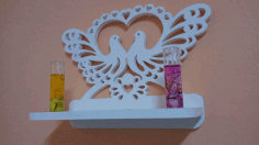 Decorative Bird Heart Shelf Design Free DXF File