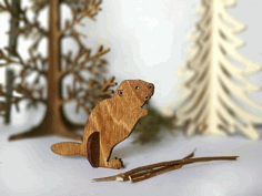Beaver Wooden Animal Laser Cut Cnc Template Free CDR Vectors Art