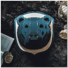 Laser Cut Bear Head Animal Trophy Wall Art Free CDR Vectors Art