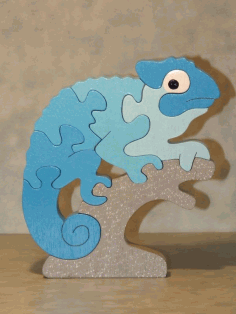 Laser Cut Chameleon Educational Puzzle Game For Children Free CDR Vectors Art