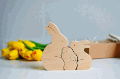 Laser Cut Wooden Bunny Puzzle Bunny Family Easter Kids Gift Toys Free CDR Vectors Art